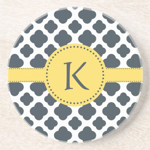 Monogrammed Charcoal and  White Quatrefoil Pattern Coasters