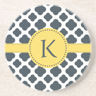 Monogrammed Charcoal and  White Quatrefoil Pattern Drink Coaster