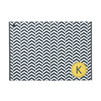 Monogrammed Charcoal and White with Yellow Chevron Cases For iPad Mini