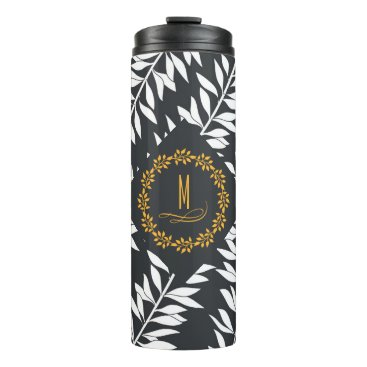 Beach Themed Monogrammed Charcoal Grey with Golden Accents Thermal Tumbler