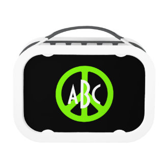 Monogrammed Chartreuse Peace Symbol Lunch Box