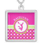 Monogrammed Cheer/Pom Pink and Green Polka-Dots Square Pendant Necklace