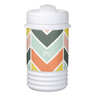 Monogrammed | Cheerful Chevron by Origami Prints Cooler