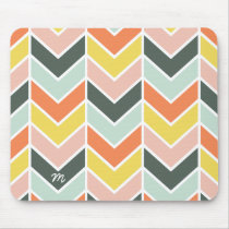 Monogrammed | Cheerful Chevron by Origami Prints Mouse Pad