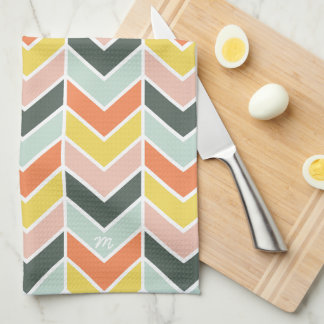 Monogrammed | Cheerful Chevron by Origami Prints Towel