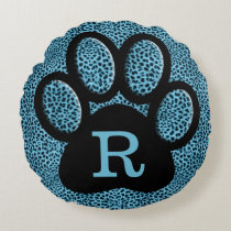 Monogrammed Cheetah Print in Blue with Cat Paw Round Pillow