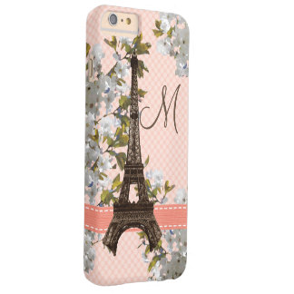 Monogrammed Cherry Blossom Eiffel Tower Barely There iPhone 6 Plus Case
