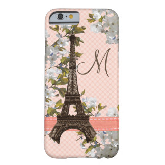 Monogrammed Cherry Blossom Eiffel Tower Barely There iPhone 6 Case