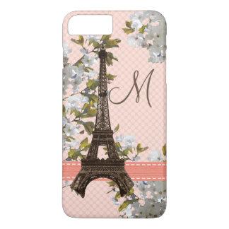 Monogrammed Cherry Blossom Eiffel Tower iPhone 8 Plus/7 Plus Case