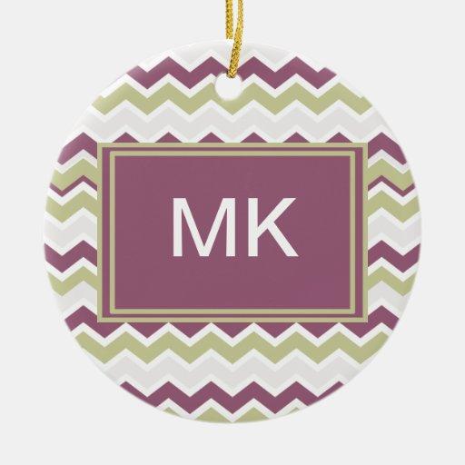 Monogrammed Chevron Brick Christmas Ornaments