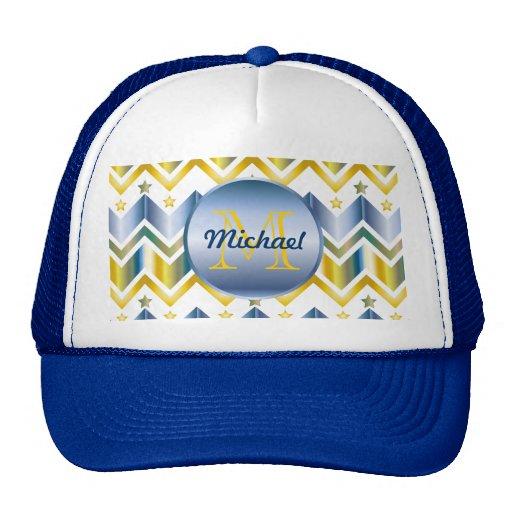 Monogrammed Chevron Gold Blue Metallic Gradation Hats