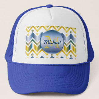 Monogrammed Chevron Gold Blue Metallic Gradation Trucker Hat