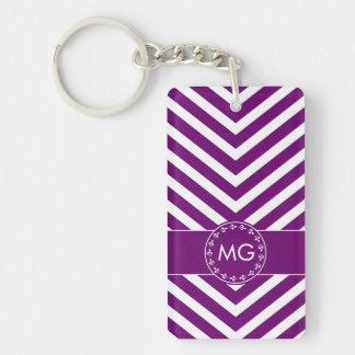 Monogrammed Chevron & Hearts in Purple - Key Chain