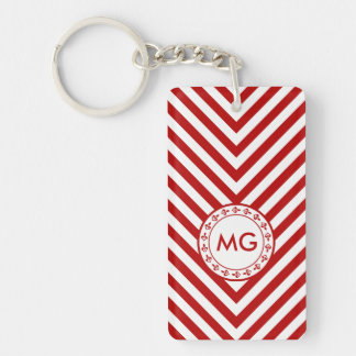 Monogrammed Chevron & Hearts in Red - Key Chain