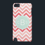 "Monogrammed Chevron Pattern Pink Mint Green Custom iPod Touch (5th Generation) Case<br><div class=""desc"">Monogrammed chevron iPod Touch 5 case, by red_dress, featuring a three initial monogram design, on mint green circle with scalloped edge, on pink chevron stripes. The monogrammed design features a white text and the chevron pattern a pink ombre design, on white background. Easily personalize monogrammed chevron iPod Touch 5 cases...</div>"