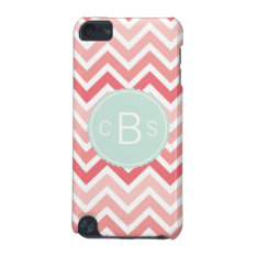 Monogrammed Chevron Pattern Pink Mint Green Custom Ipod Touch (5th Generation) Case at Zazzle