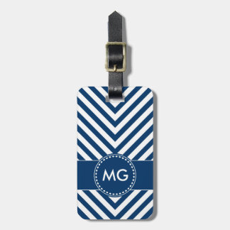 Monogrammed Chevron & Seeds in Blue- Luggage Tag