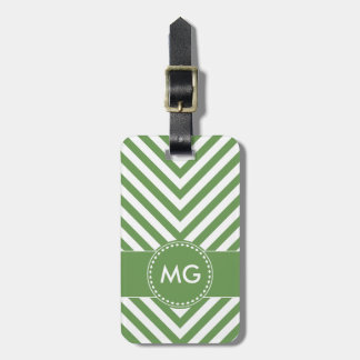 Monogrammed Chevron & Seeds in Green- Luggage Tag