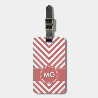 Monogrammed Chevron & Seeds in Pink 4- Luggage Tag