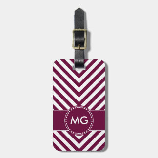 Monogrammed Chevron & Seeds in Purple- Luggage Tag