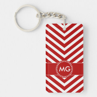 Monogrammed Chevron & Seeds in Red 2 - Key Chain