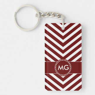 Monogrammed Chevron & Seeds in Red - Key Chain