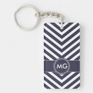 Monogrammed Chevron & Seeds in Reflecting Pond Keychain