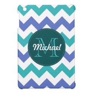 Monogrammed Chevron Teal Violet Circle Stitches iPad Mini Cases