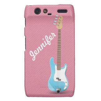 Monogrammed Chic Blue Electric Guitar Pink Stripes Motorola Droid RAZR Case