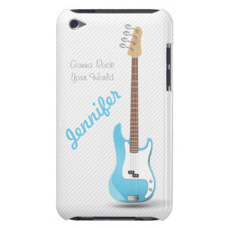 Monogrammed Chic Electric Guitar Sky Blue Stripes iPod Touch Case-Mate Case