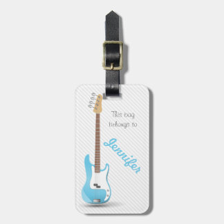Monogrammed Chic Electric Guitar Sky Blue Stripes Tag For Luggage