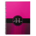 Monogrammed Chic Hot Pink Black Stripes Circle Spiral Note Book
