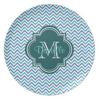 Monogrammed Chic Quatrefoil Chevron Teal Violet Plate