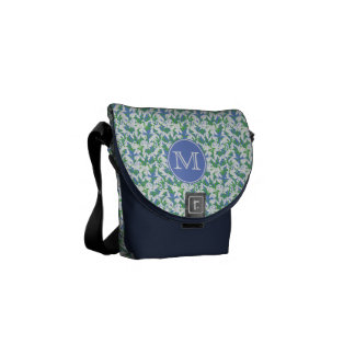 Monogrammed Chic Snowdrops Pattern on Soft Blue Courier Bag