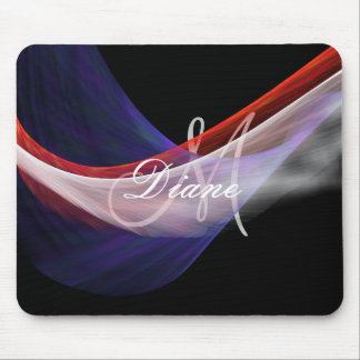Monogrammed chiffon fabric waves in red blue white mouse pad