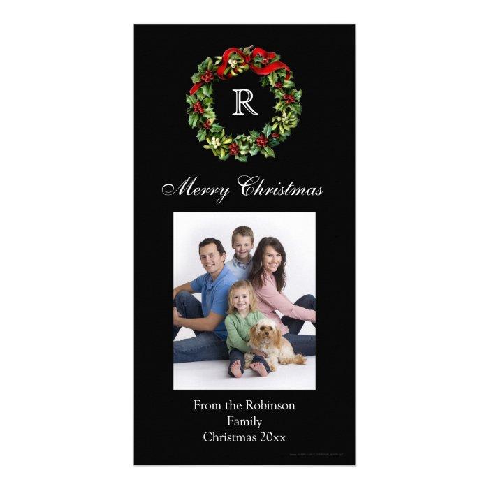 Monogrammed Christmas Classic Wreath Card