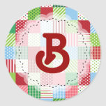 Monogrammed Christmas Patchwork Stickers