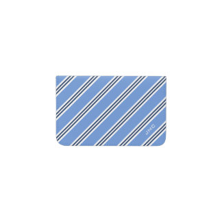 Monogrammed Classic Light Blue and Navy Stripes Business Card Holder