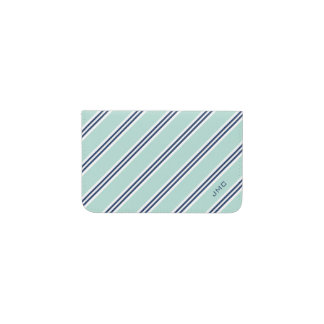 Monogrammed Classic Mint and Navy Stripes Business Card Holder