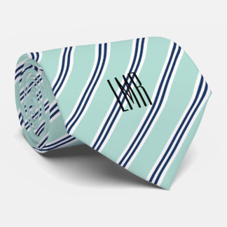 Monogrammed Classic Mint Green and Navy Stripes Neck Tie