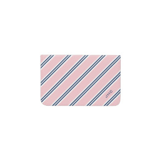 Monogrammed Classic Pink and Navy Stripes Business Card Holder