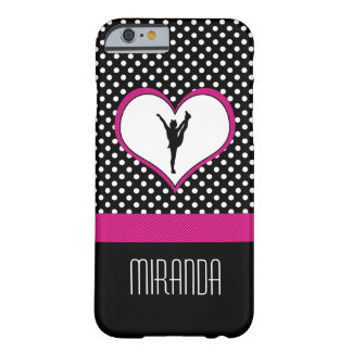 Monogrammed Classic Pink Cheer Polka-Dot w/ Heart Barely There iPhone 6 Case