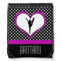 Monogrammed Classic Pink Cheer Polka-Dot w/ Heart Drawstring Bag