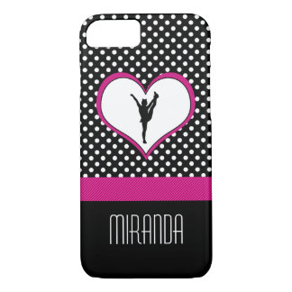 Monogrammed Classic Pink Cheer Polka-Dot w/ Heart iPhone 8/7 Case
