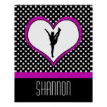 Monogrammed Classic Pink Cheer Polka-Dot w/ Heart Poster