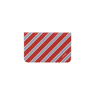 Monogrammed Classic Red and Navy Stripes Business Card Holder