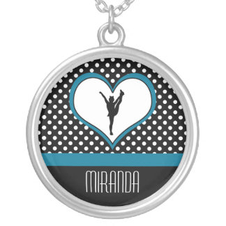 Monogrammed Classic Teal Polka-Dot Cheer w/ Heart Silver Plated Necklace