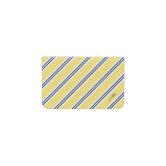 Monogrammed Classic Yellow and Navy Stripes Business Card Holder