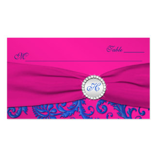 Monogrammed Cobalt and Fuchsia Place Cards Business Card