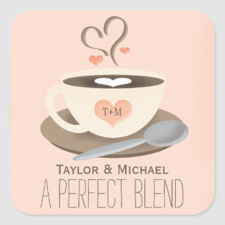 Monogrammed Coffee Cup Heart Wedding Party Favor Square Sticker
